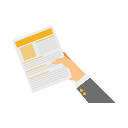 hand holdign a document page over white background. colorful design. vector illustration