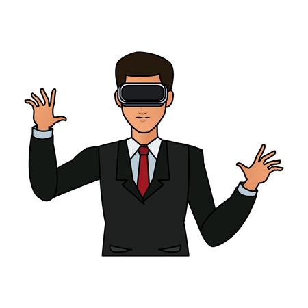 man wearing virtual reality goggles icon image vector illustration design Illustration