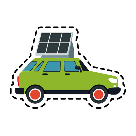 car with solar panel icon image vector illustration design Illustration