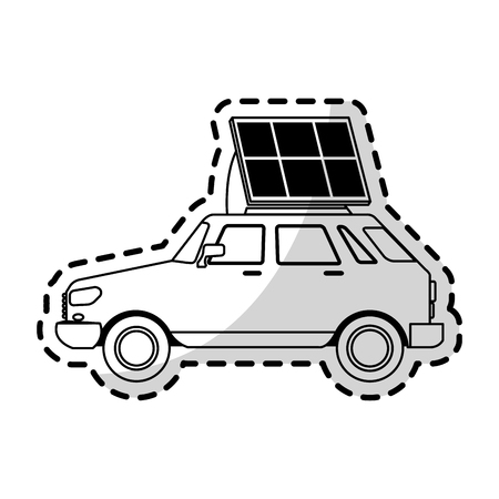 electricity meter: car with solar panel icon image vector illustration design Illustration