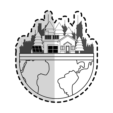 house with solar panel icon image vector illustration design