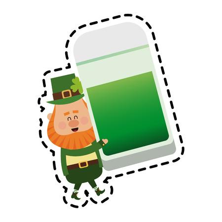 leprechaun with green beer st patricks day icon image vector illustration design
