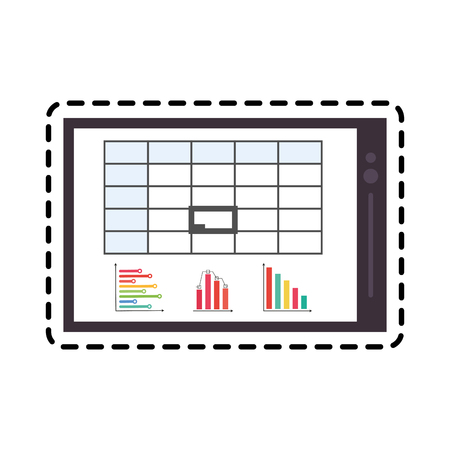 palmtop: tablet with graph chart icon image vector illustration design