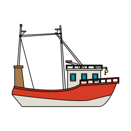 floating: fishing ship icon image vector illustration design