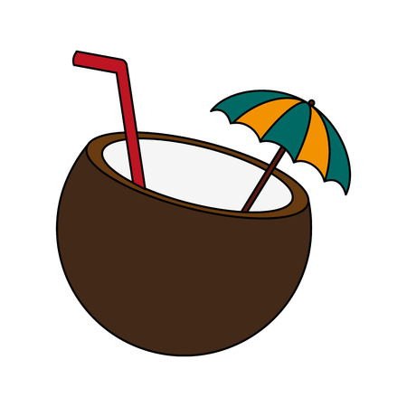 tropical coconut cocktail drink icon image vector illustration design