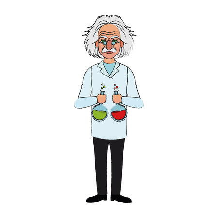 professor with flasks icon image vector illustration design