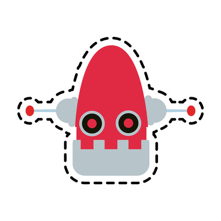 cybernetics: red robot technology icon image vector illustration design