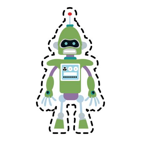 cybernetics: green robot technology icon image vector illustration design Illustration