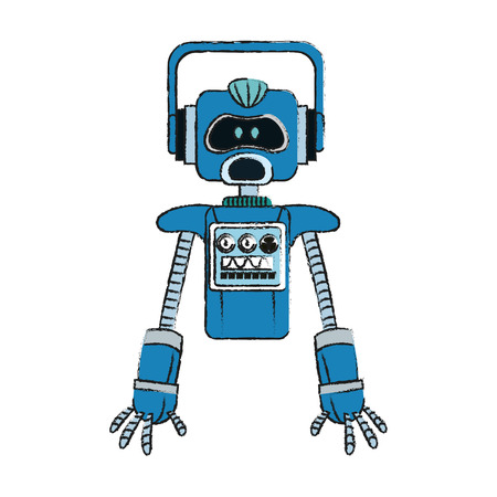 cybernetics: blue robot technology icon image vector illustration design