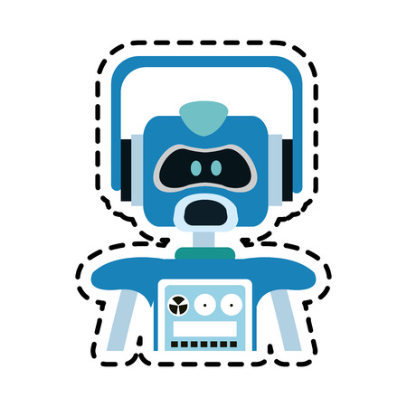 blue robot technology icon image vector illustration design