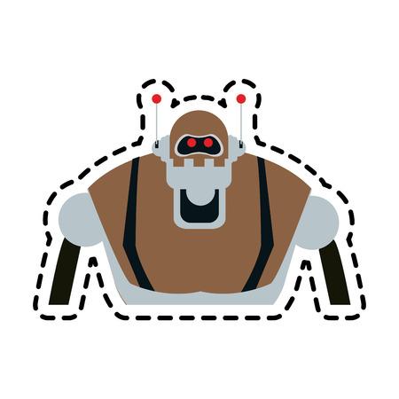 brown robot technology icon image vector illustration design