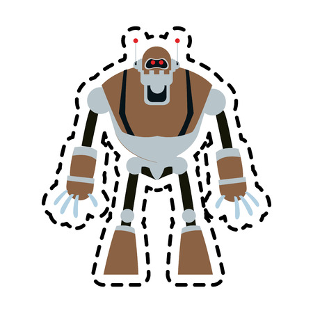 brown robot technology icon image vector illustration design