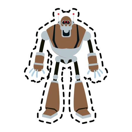 cybernetics: brown robot technology icon image vector illustration design