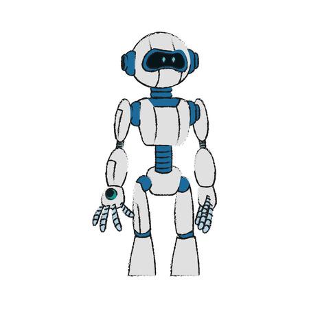 diseño de ilustración de vector de imagen de icono de tecnología de robot blanco y azul
