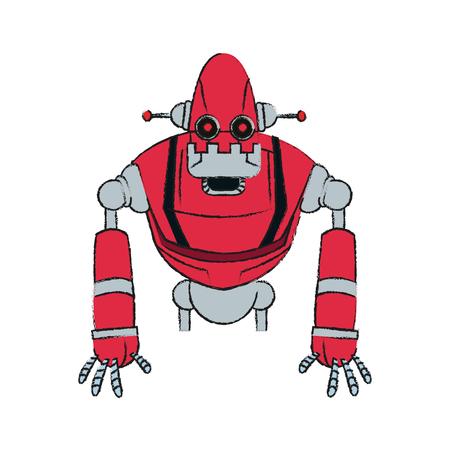 diseño de ilustración de vector de imagen de icono de tecnología de robot rojo