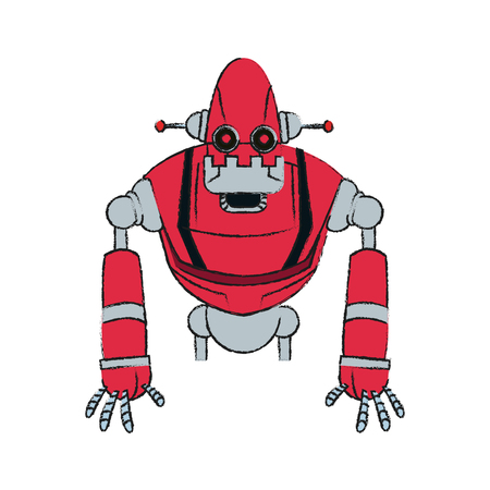 red robot technology icon image vector illustration design