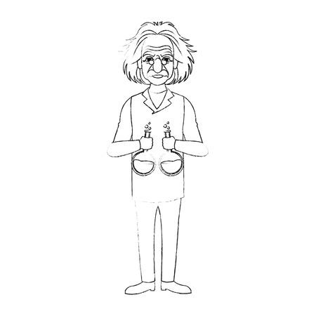 albert einstein holding flasks  icon image vector illustration design