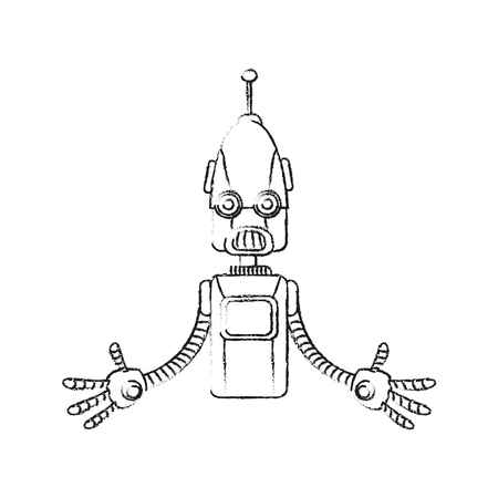 robot with antenna on top technology icon image vector illustration design Illustration