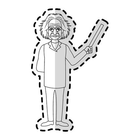 albert einstein icon image sticker vector illustration design