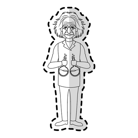 albert einstein holding flasks icon image vector illustration design Illustration