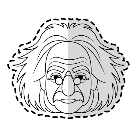 albert einstein icon image sticker vector illustration design Stock Vector - 73539322