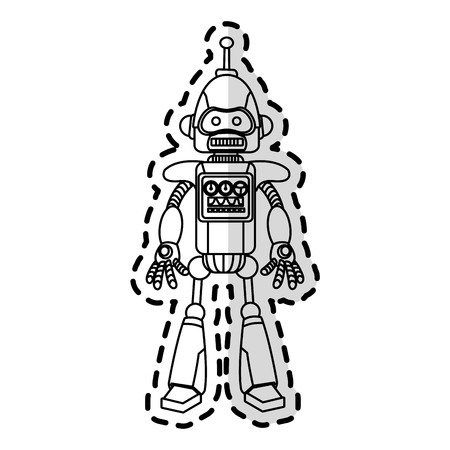 cybernetics: robot with antenna on top technology icon image vector illustration design Illustration