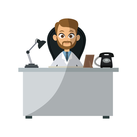 medical doctor at the office over white background. colorful design. vector illustration Illustration