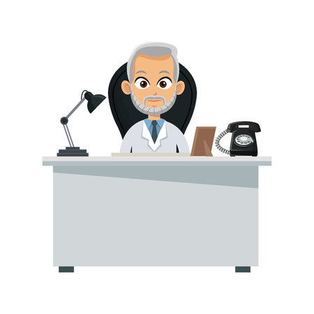 medical doctor at the office over white background. colorful design. vector illustration Illustration