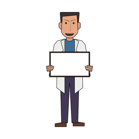 male doctor holding blank sign icon image vector illustration design Illustration