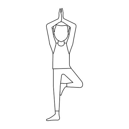 devotee: man doing yoga yogi icon image vector illustration design
