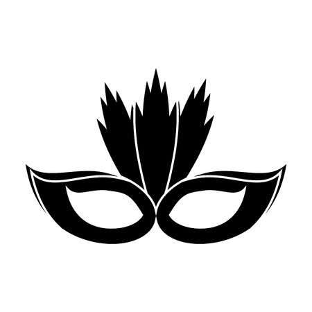 paper mache: carnival mask with feathers pictogram vector illustration eps 10