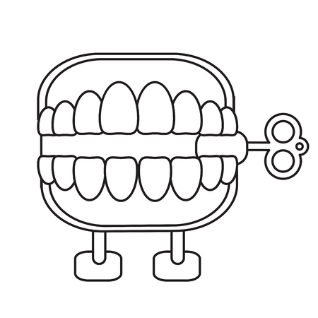 april fools day chattering teeth thin line vector illustration eps 10
