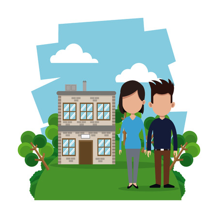 modern garden: couple modern house garden vector illustration eps 10