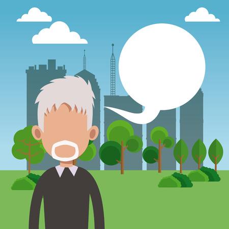 elderly man bubble speech park city background vector illustration eps 10