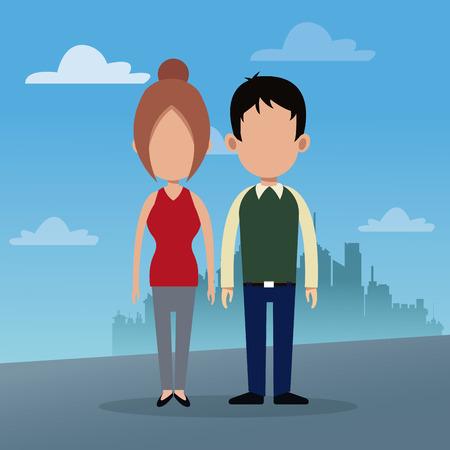 couple social urban background vector illustration eps 0