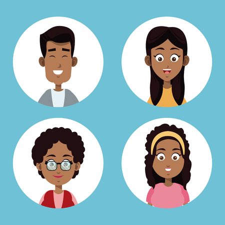 group family afro american vector illustration eps 10