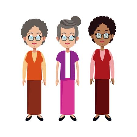 mid adult men: group grandmother family member vector illustration eps 10 Illustration