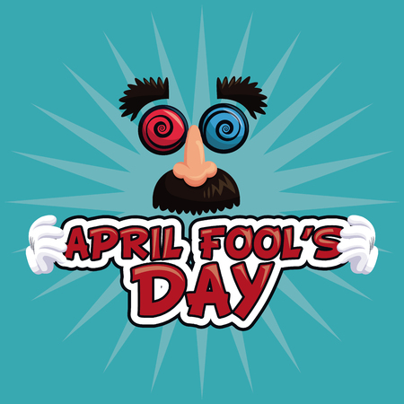 tomfool: april fools day lettering face funny vector illustration eps 10
