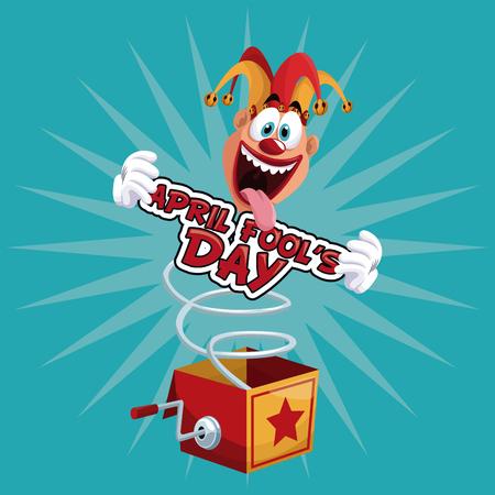 comedian: april fools day fun jester box surprise vector illustration eps 10 Illustration