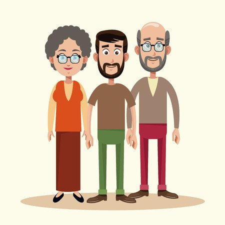 father with grandparents family vector illustration eps 10