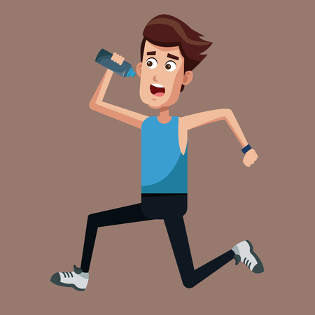 healthy man running bottle water vector illustration eps 10 Illustration
