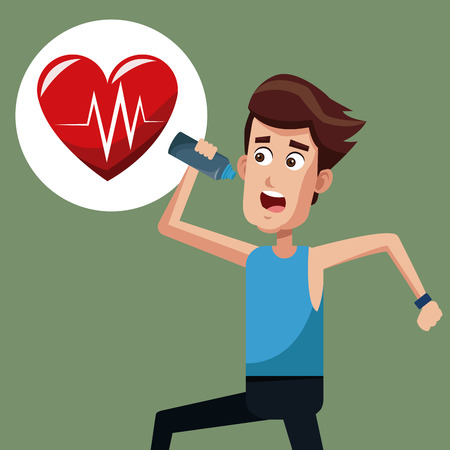 man exercise run heartbeat vector illustration eps 10