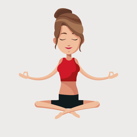 yoga meditation: woman yoga lotus meditation vector illustration eps 10