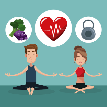 pareja comiendo: Yoga de los pares de alimentos saludables de ejercicio ilustración vectorial eps 10 Vectores
