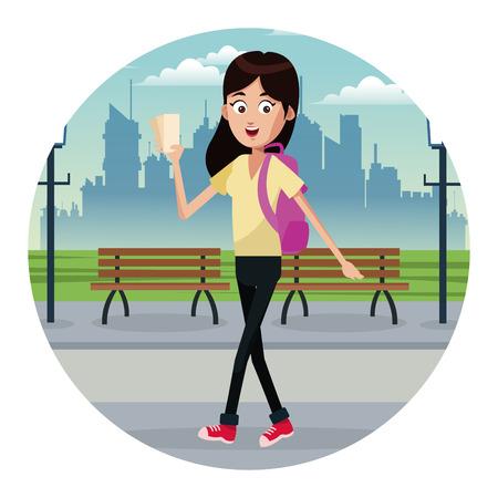girl traveler ticket park vector illustration eps 10
