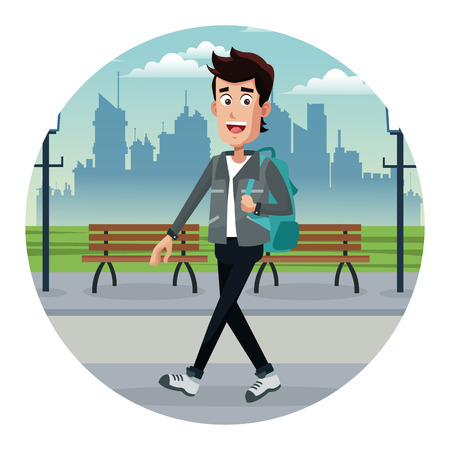 young man with backpack park urban vector illustration eps 10 Illustration