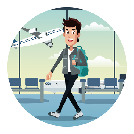 departure board: young man with backpack airport vector illustration eps 10