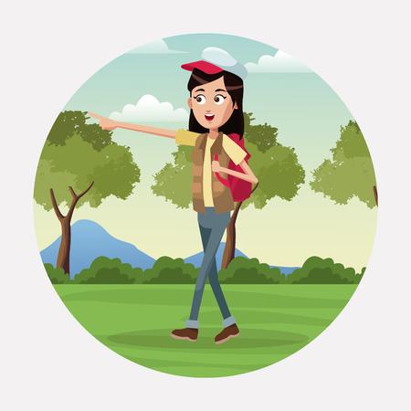 woman walk backpack and cap landscape vector illustratioon eps 10 Illustration