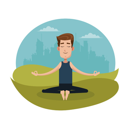 yoga meditation: man posing yoga meditation vector illustration eps 10