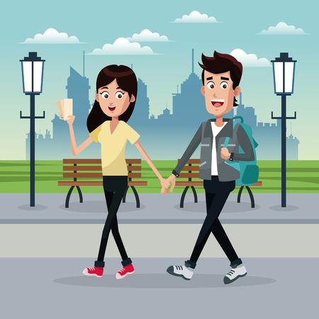 couple traveler tickets park vector illustration eps 10 Illustration